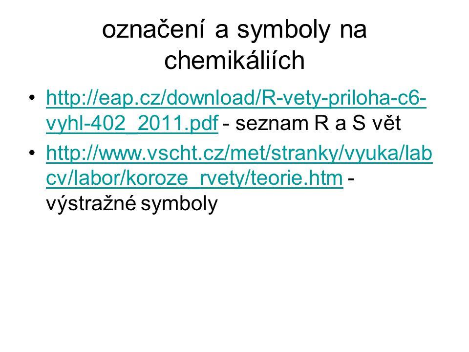 označení a symboly na chemikáliích