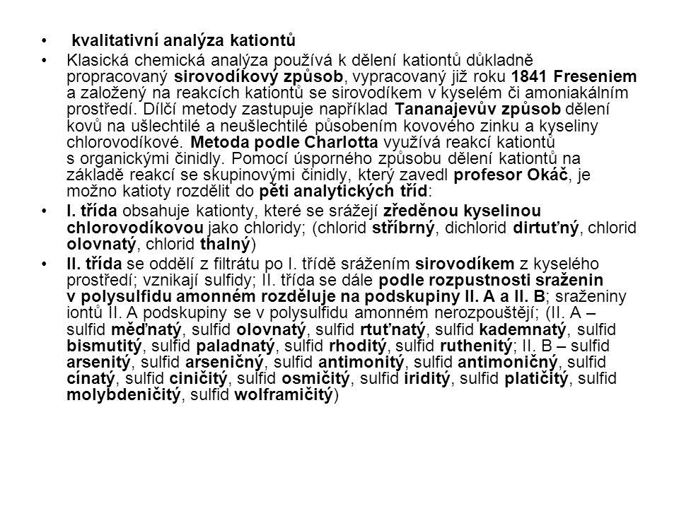 kvalitativní analýza kationtů
