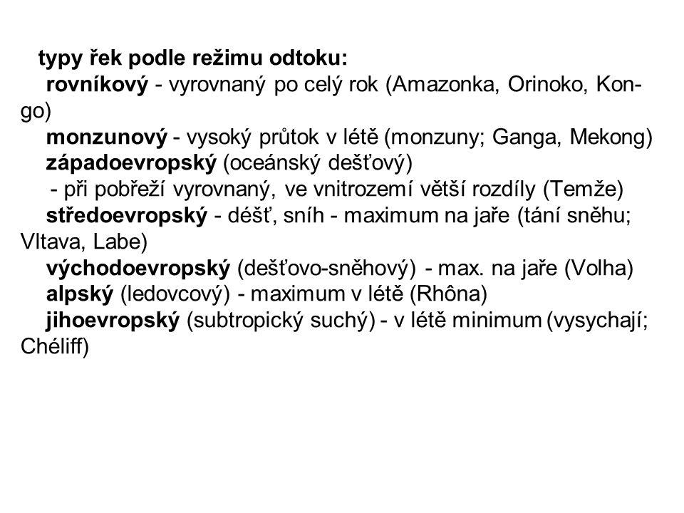 typy řek podle režimu odtoku: