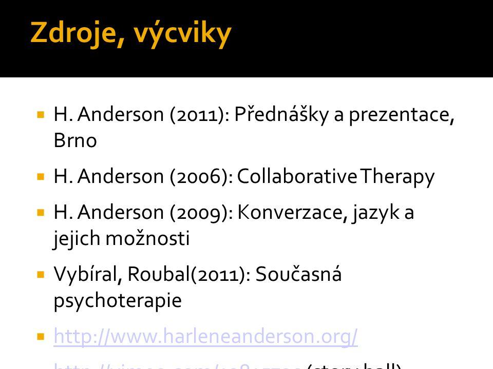 Zdroje, výcviky H. Anderson (2011): Přednášky a prezentace, Brno