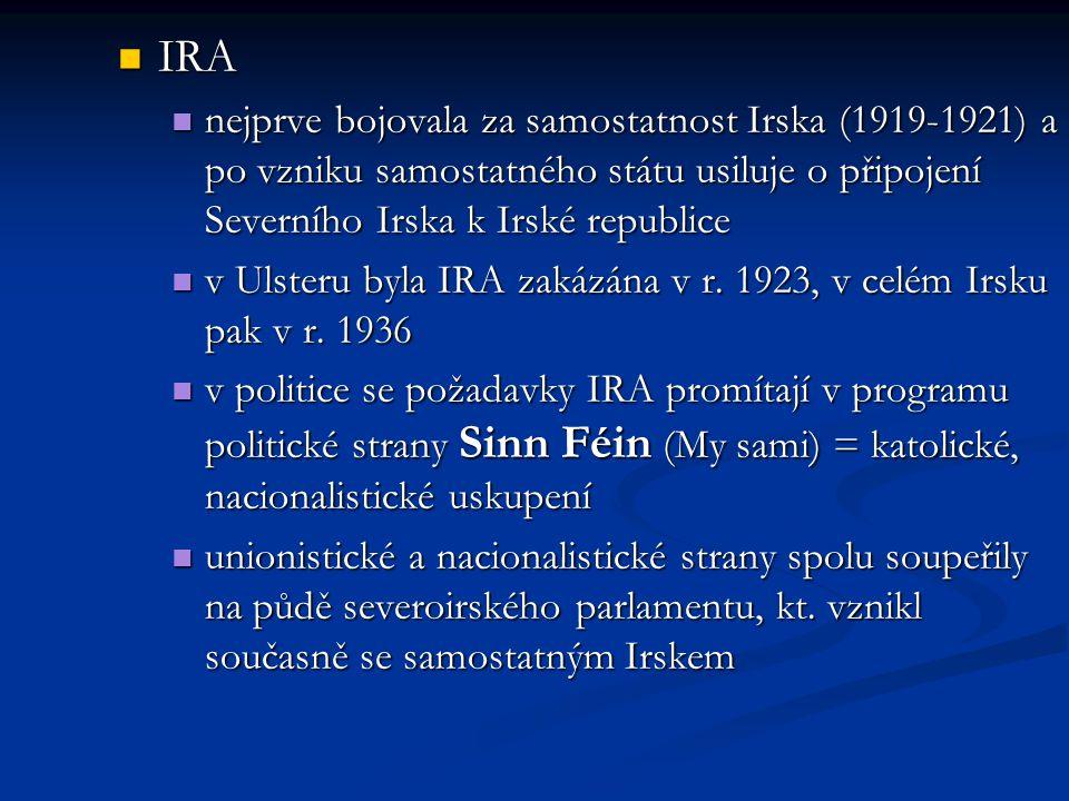 IRA nejprve bojovala za samostatnost Irska (1919-1921) a po vzniku samostatného státu usiluje o připojení Severního Irska k Irské republice.
