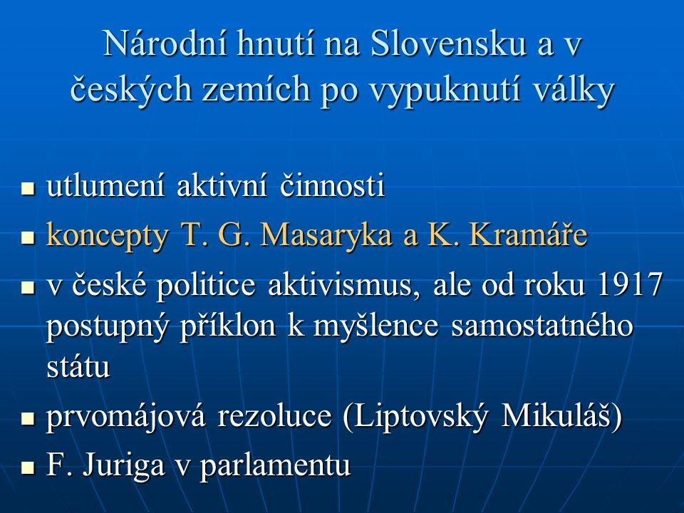 Národní hnutí na Slovensku a v českých zemích po vypuknutí války