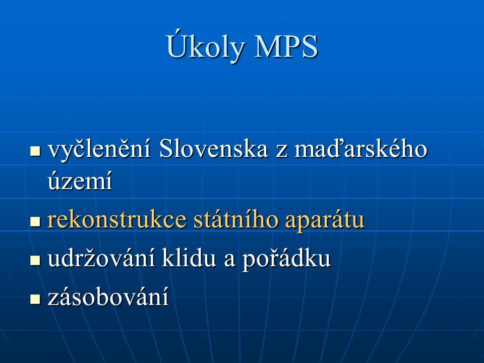 Úkoly MPS vyčlenění Slovenska z maďarského území