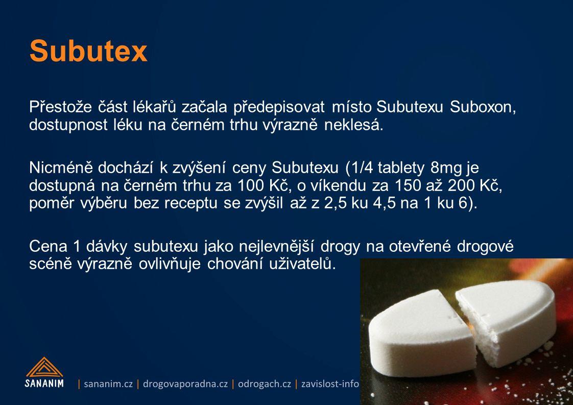 Subutex Přestože část lékařů začala předepisovat místo Subutexu Suboxon, dostupnost léku na černém trhu výrazně neklesá.