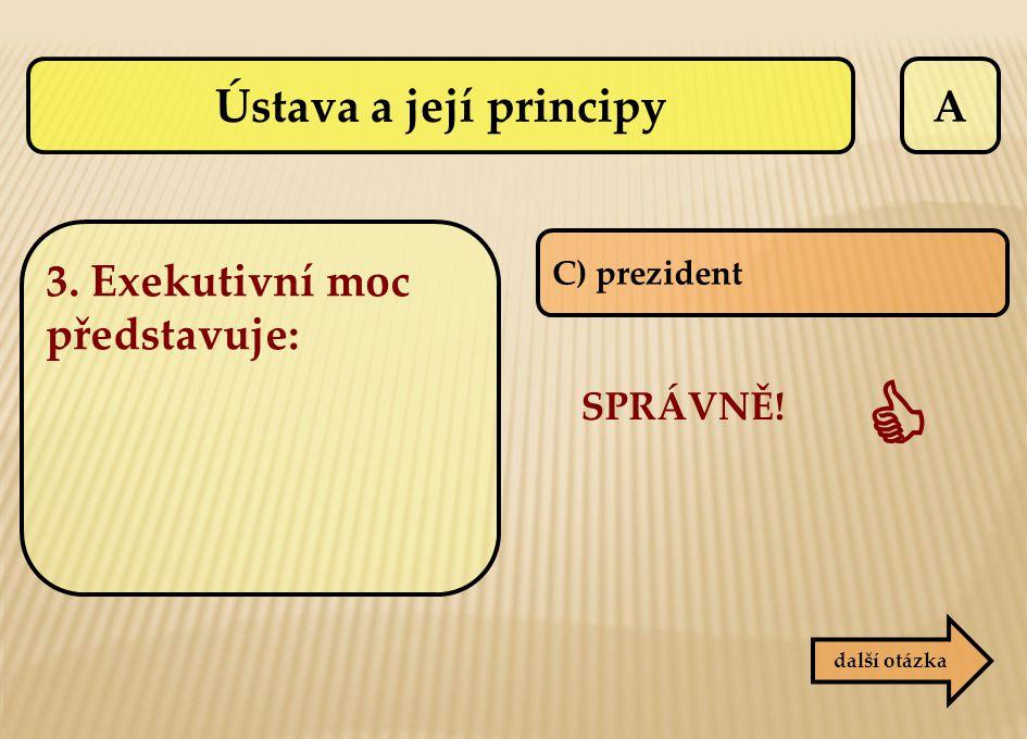  Ústava a její principy A 3. Exekutivní moc představuje: SPRÁVNĚ!