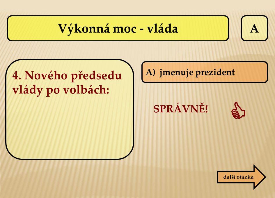  Výkonná moc - vláda A 4. Nového předsedu vlády po volbách: SPRÁVNĚ!