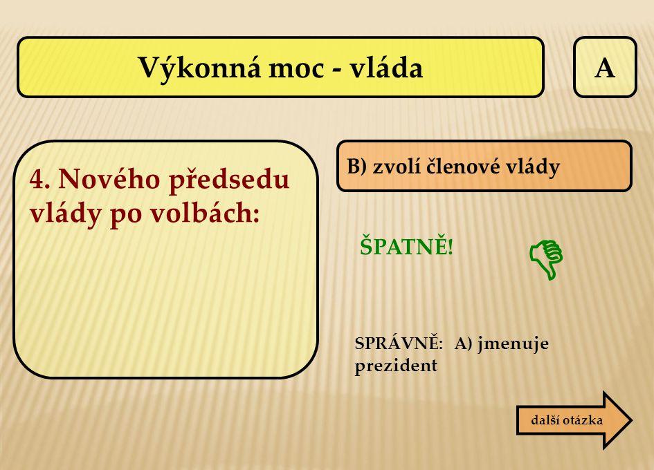  Výkonná moc - vláda A 4. Nového předsedu vlády po volbách: ŠPATNĚ!