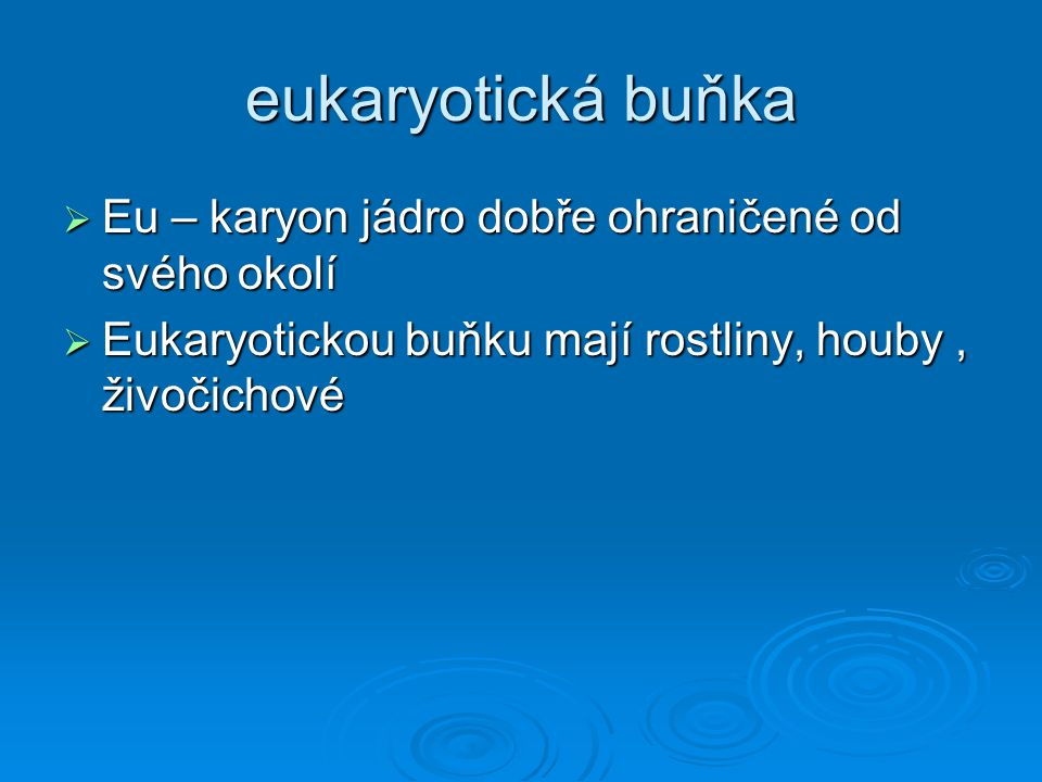 eukaryotická buňka Eu – karyon jádro dobře ohraničené od svého okolí