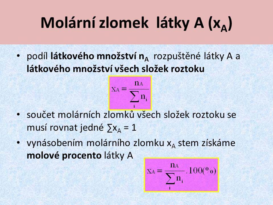 Molární zlomek látky A (xA)