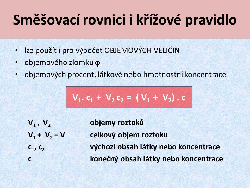 Směšovací rovnici i křížové pravidlo