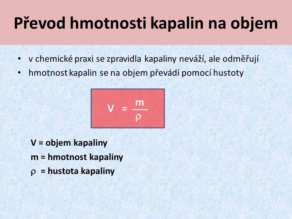 Převod hmotnosti kapalin na objem