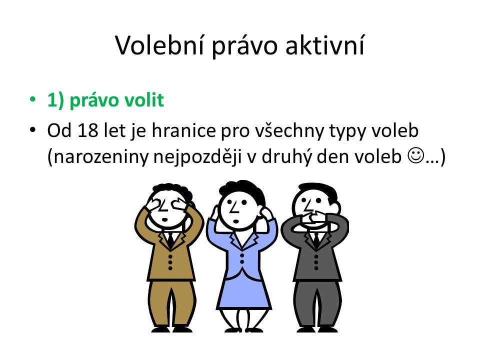 Volební právo aktivní 1) právo volit