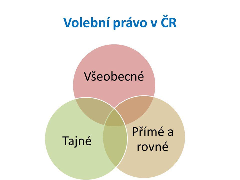 Volební právo v ČR Všeobecné Přímé a rovné Tajné
