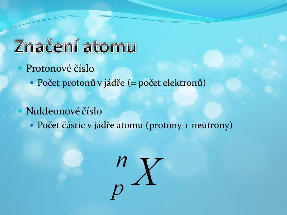 Značení atomu Protonové číslo Nukleonové číslo