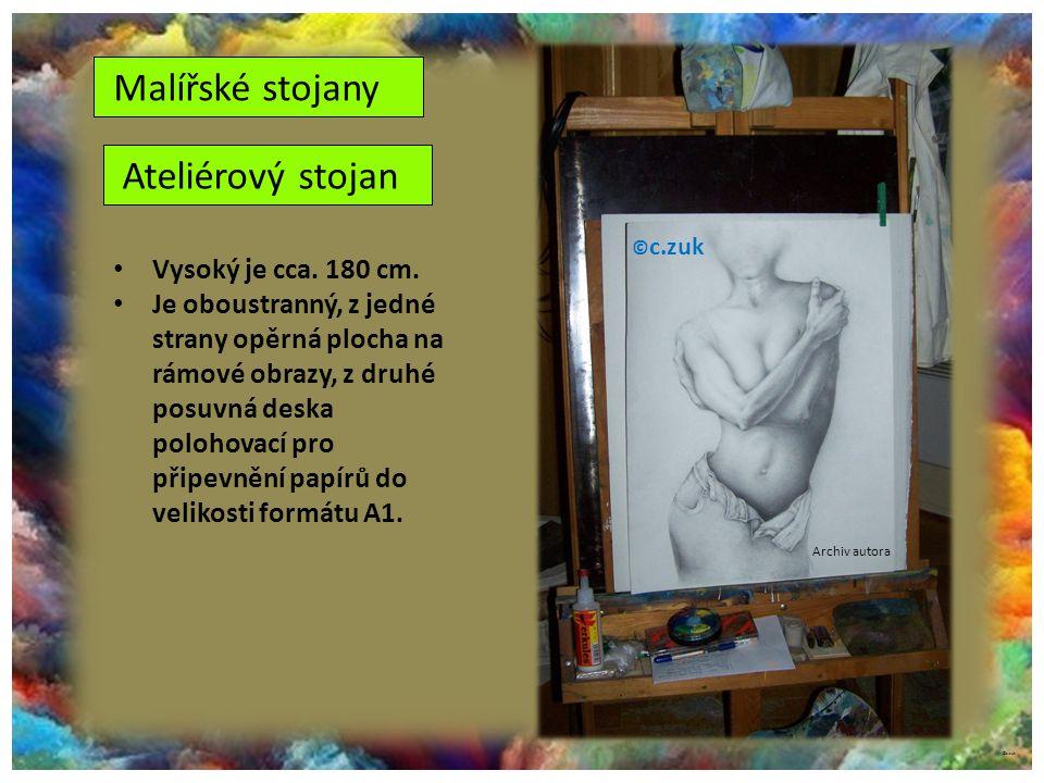 Malířské stojany Ateliérový stojan Vysoký je cca. 180 cm.