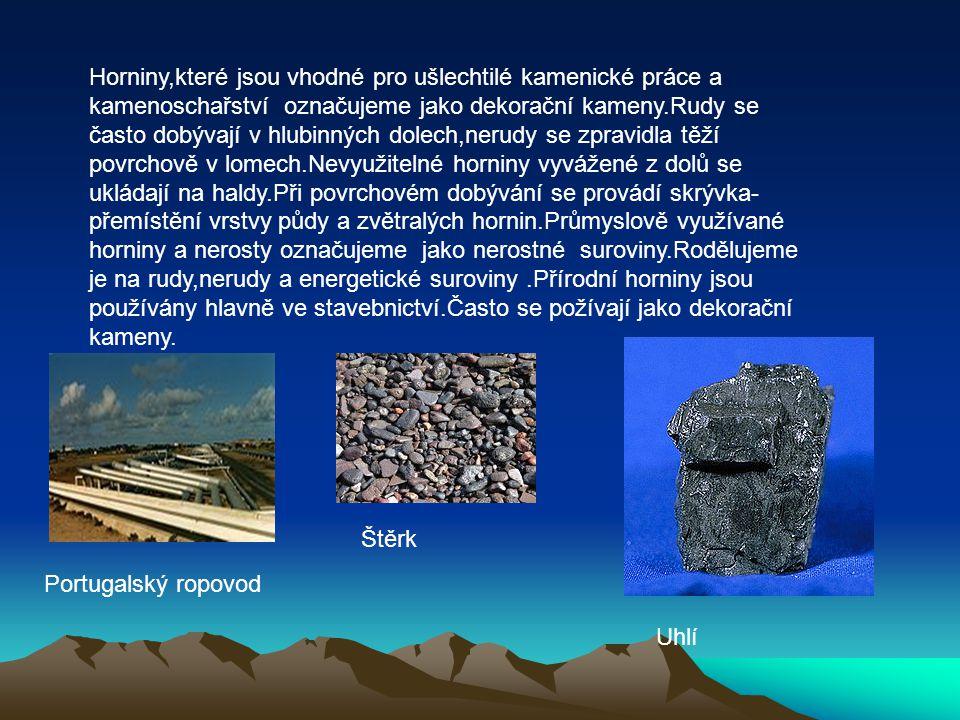 Horniny,které jsou vhodné pro ušlechtilé kamenické práce a kamenoschařství označujeme jako dekorační kameny.Rudy se často dobývají v hlubinných dolech,nerudy se zpravidla těží povrchově v lomech.Nevyužitelné horniny vyvážené z dolů se ukládají na haldy.Při povrchovém dobývání se provádí skrývka-přemístění vrstvy půdy a zvětralých hornin.Průmyslově využívané horniny a nerosty označujeme jako nerostné suroviny.Rodělujeme je na rudy,nerudy a energetické suroviny .Přírodní horniny jsou používány hlavně ve stavebnictví.Často se požívají jako dekorační kameny.