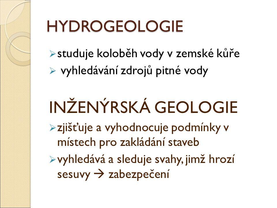 INŽENÝRSKÁ GEOLOGIE HYDROGEOLOGIE studuje koloběh vody v zemské kůře