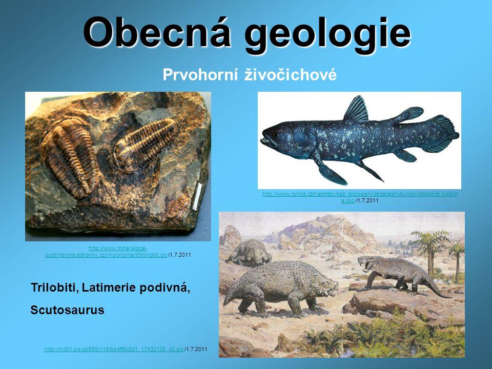 Obecná geologie Prvohorní živočichové Trilobiti, Latimerie podivná,