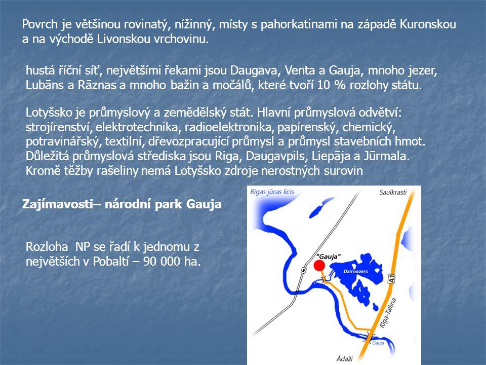 Povrch je většinou rovinatý, nížinný, místy s pahorkatinami na západě Kuronskou a na východě Livonskou vrchovinu.