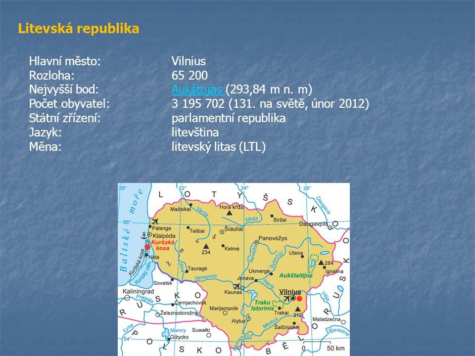 Litevská republika Hlavní město: Vilnius Rozloha: 65 200