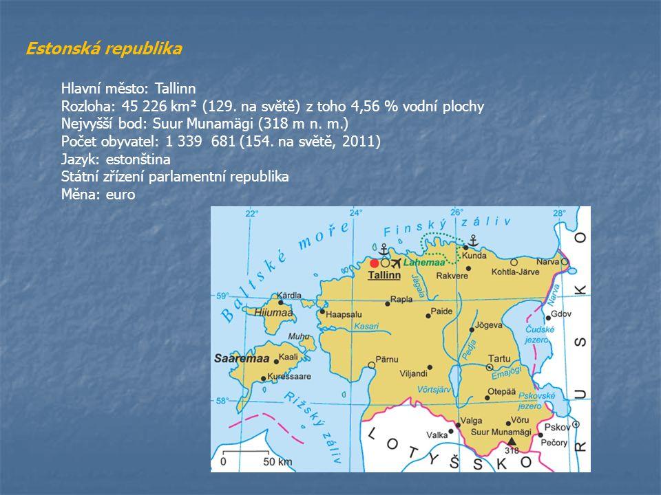 Estonská republika Hlavní město: Tallinn
