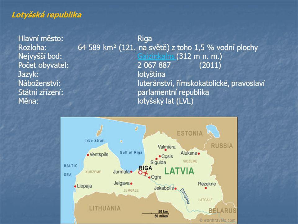 Lotyšská republika Hlavní město: Riga. Rozloha: 64 589 km² (121. na světě) z toho 1,5 % vodní plochy.