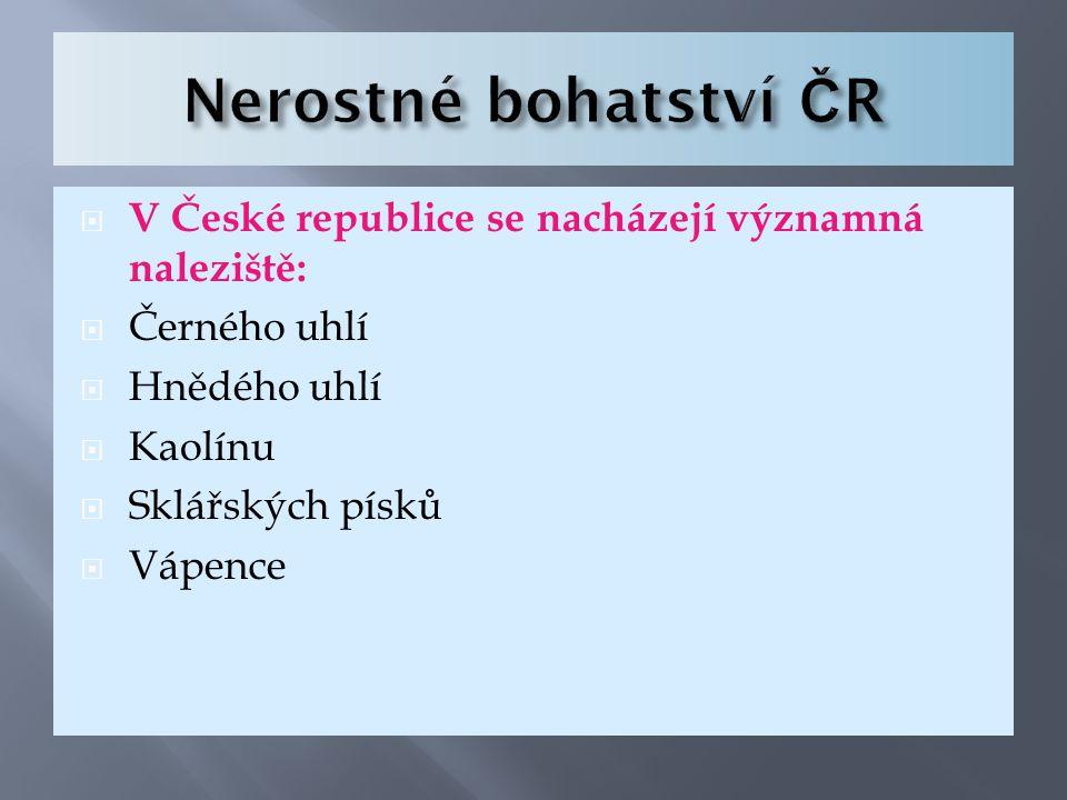 Nerostné bohatství ČR V České republice se nacházejí významná naleziště: Černého uhlí. Hnědého uhlí.