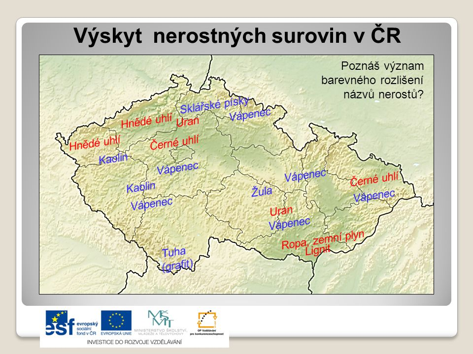 Výskyt nerostných surovin v ČR