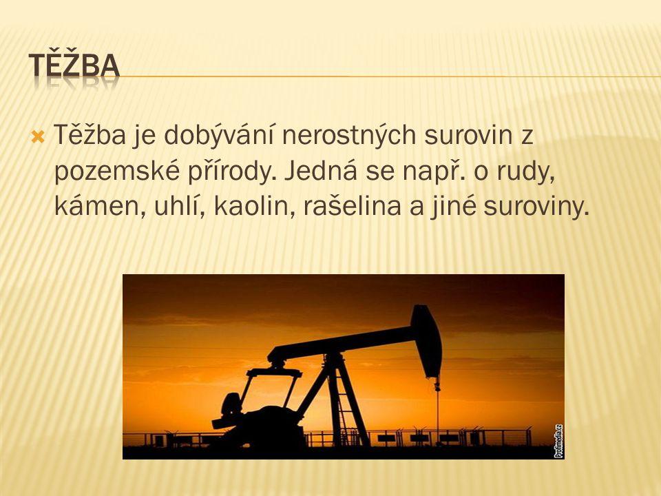 Těžba Těžba je dobývání nerostných surovin z pozemské přírody.
