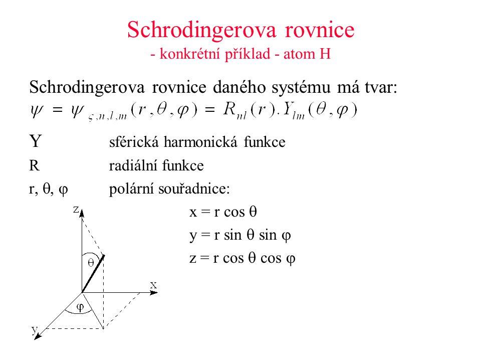 Schrodingerova rovnice - konkrétní příklad - atom H