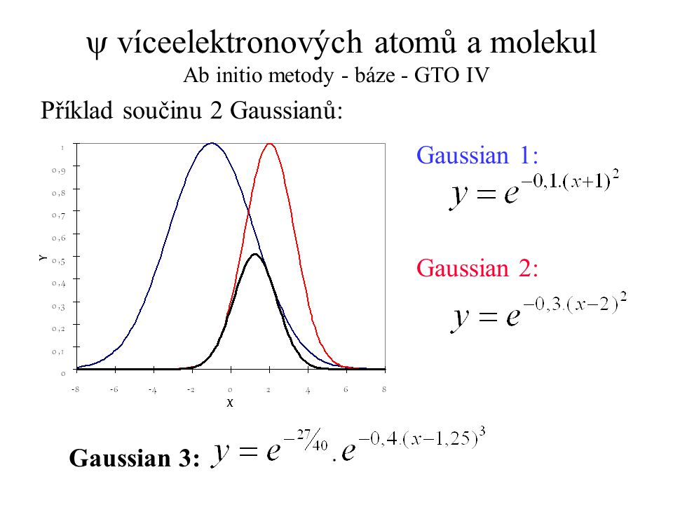 y víceelektronových atomů a molekul Ab initio metody - báze - GTO IV