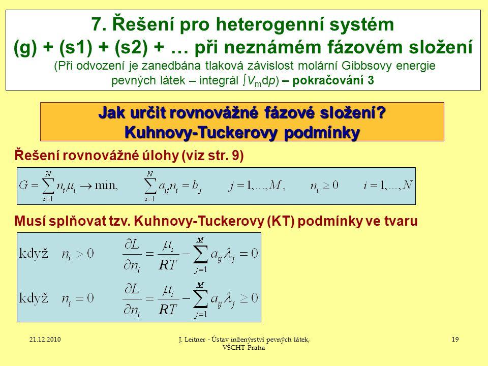 Jak určit rovnovážné fázové složení Kuhnovy-Tuckerovy podmínky
