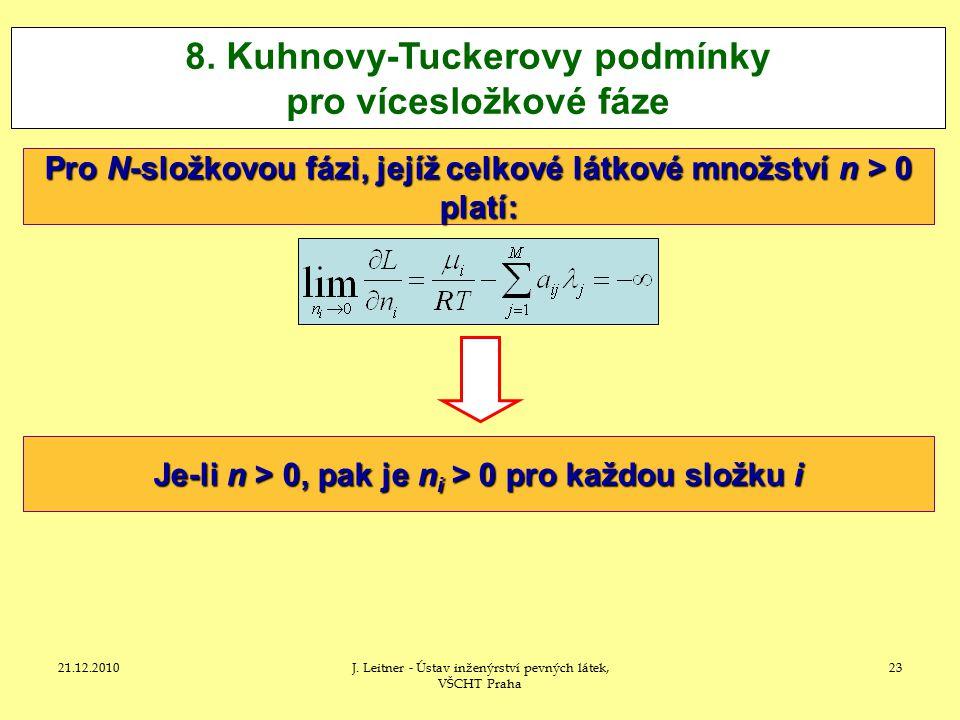 8. Kuhnovy-Tuckerovy podmínky pro vícesložkové fáze