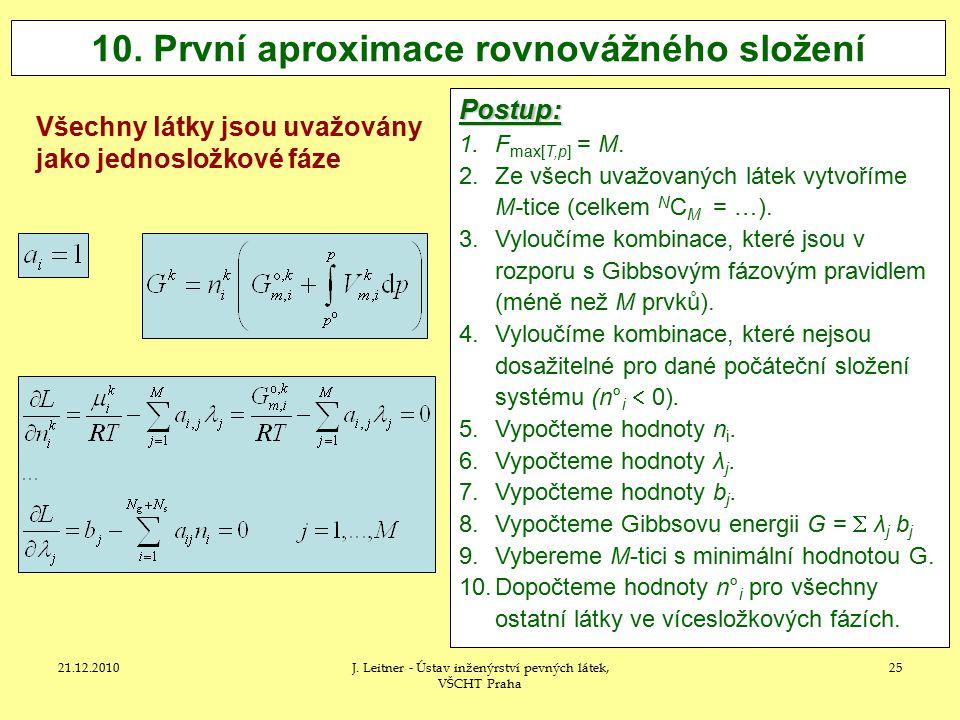 10. První aproximace rovnovážného složení