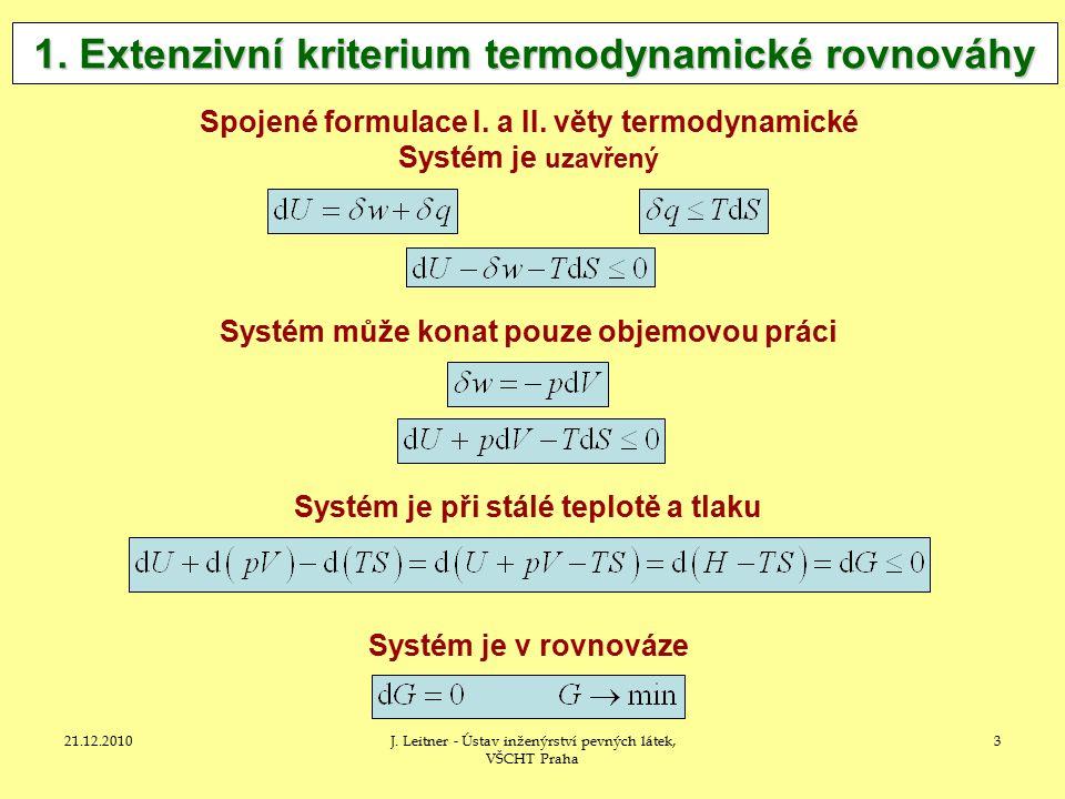 1. Extenzivní kriterium termodynamické rovnováhy