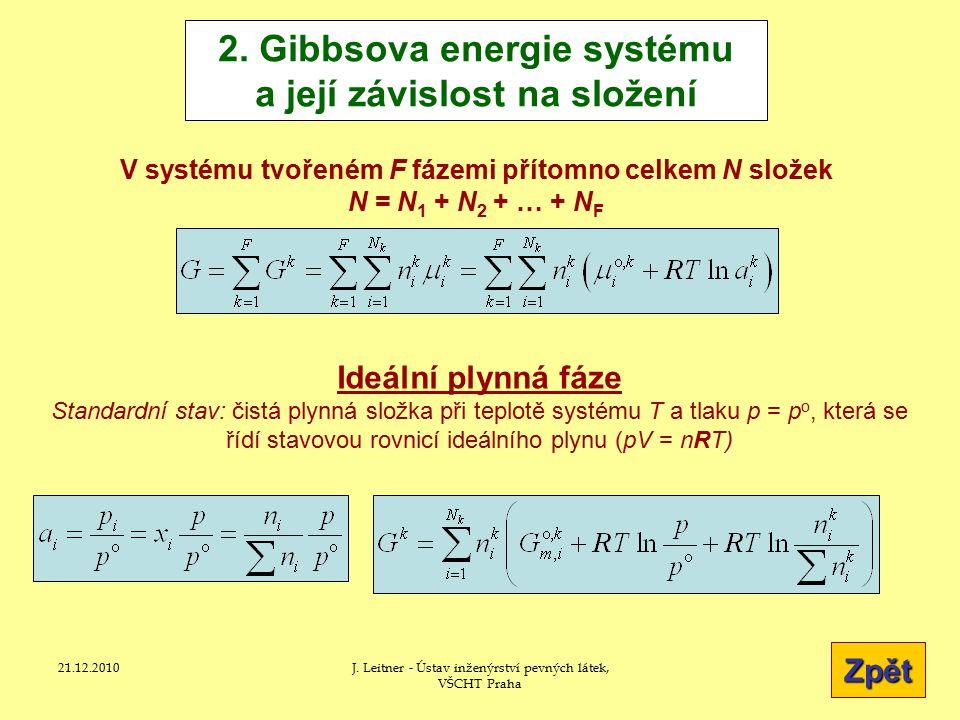 2. Gibbsova energie systému a její závislost na složení
