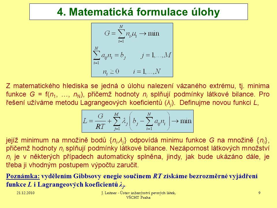 4. Matematická formulace úlohy