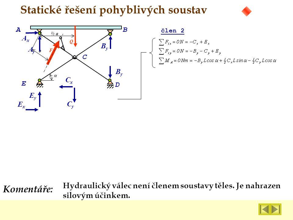 Statické řešení pohyblivých soustav