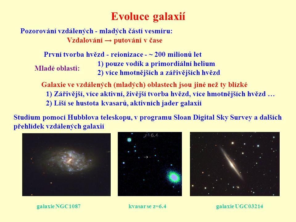 Evoluce galaxií Pozorování vzdálených - mladých částí vesmíru: