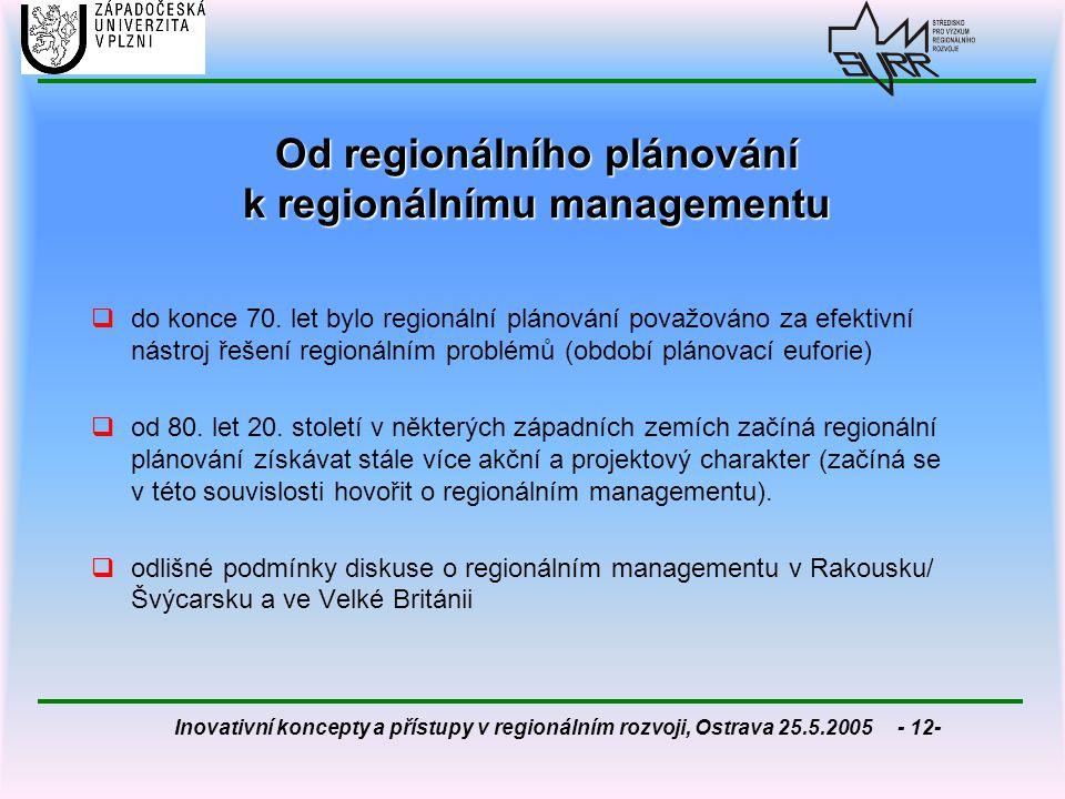 Od regionálního plánování k regionálnímu managementu