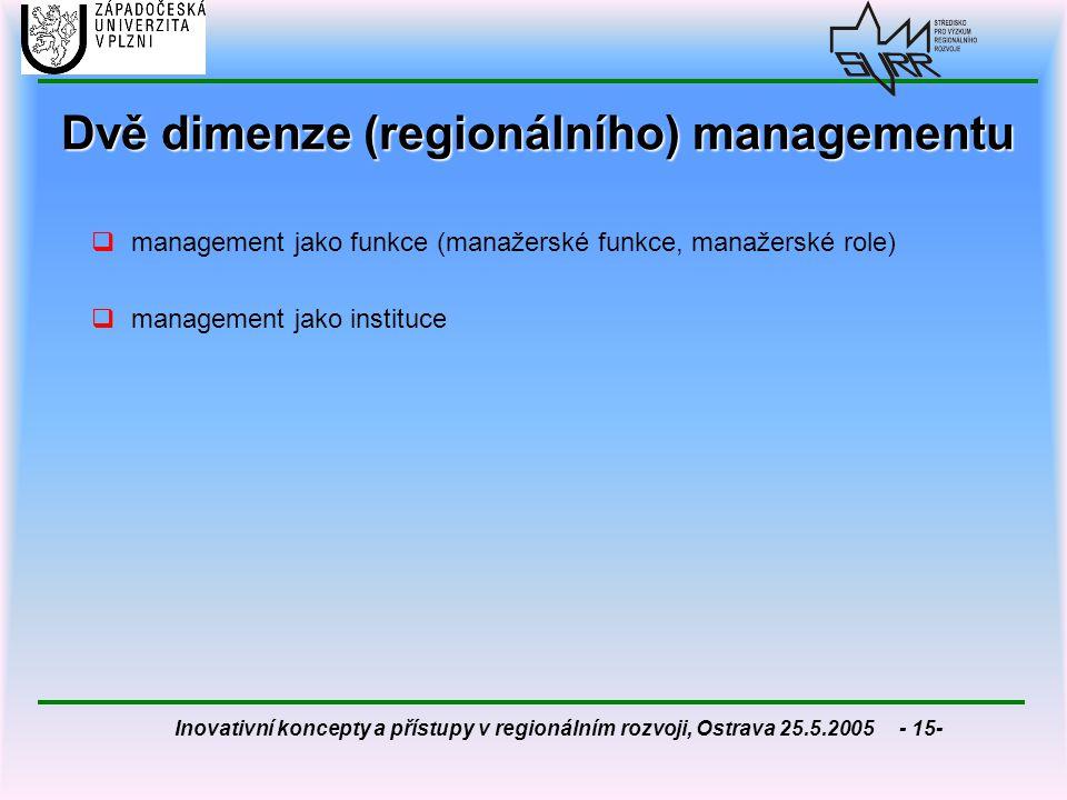 Dvě dimenze (regionálního) managementu