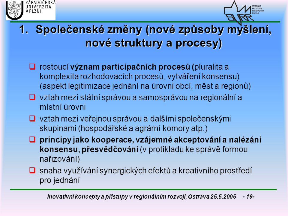 Společenské změny (nové způsoby myšlení, nové struktury a procesy)