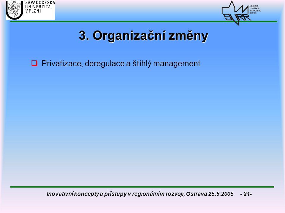 3. Organizační změny Privatizace, deregulace a štíhlý management