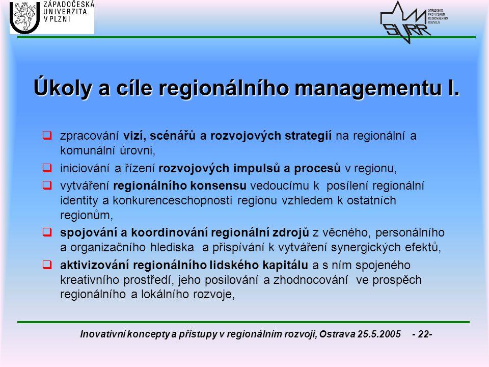 Úkoly a cíle regionálního managementu I.