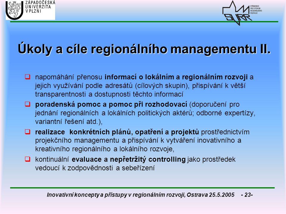 Úkoly a cíle regionálního managementu II.