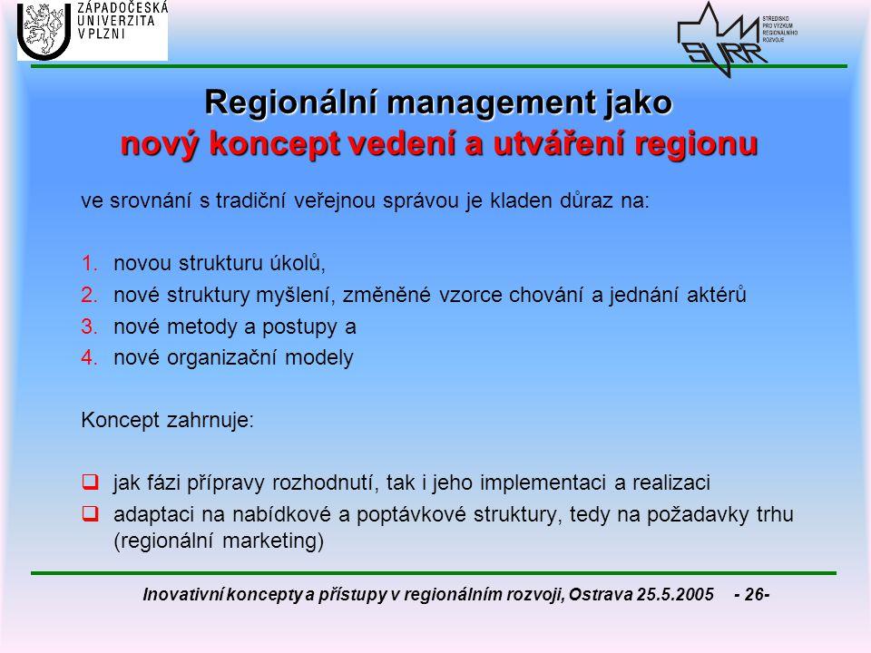 Regionální management jako nový koncept vedení a utváření regionu