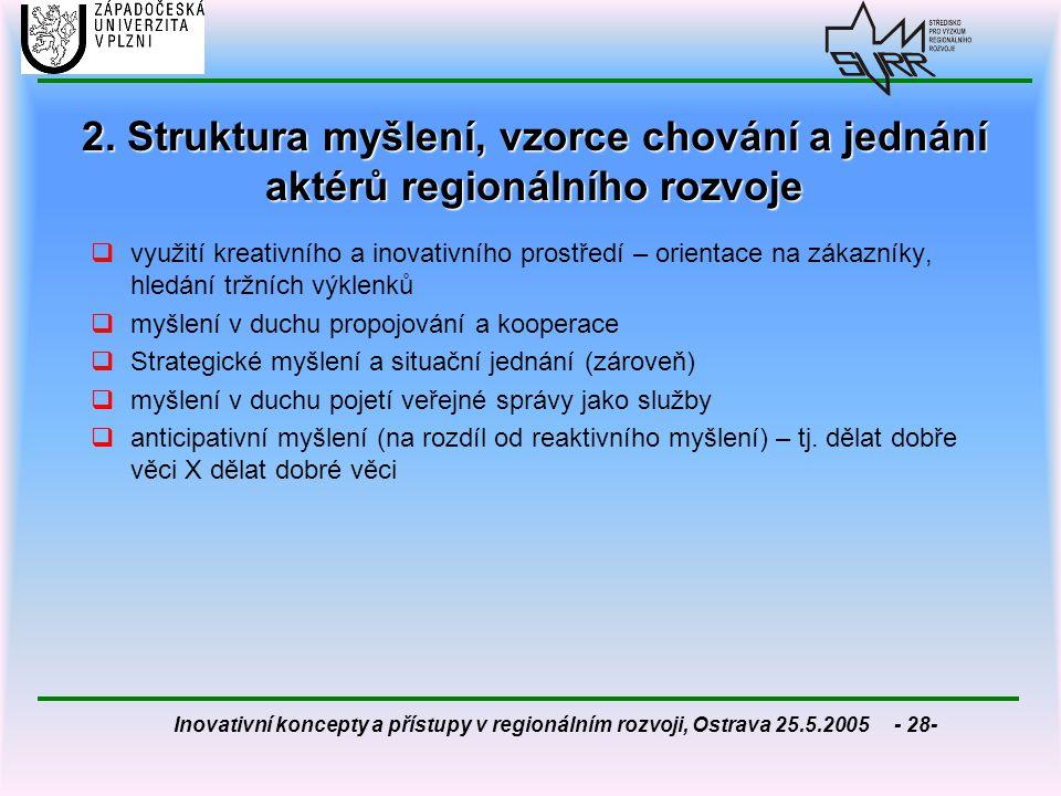 2. Struktura myšlení, vzorce chování a jednání aktérů regionálního rozvoje