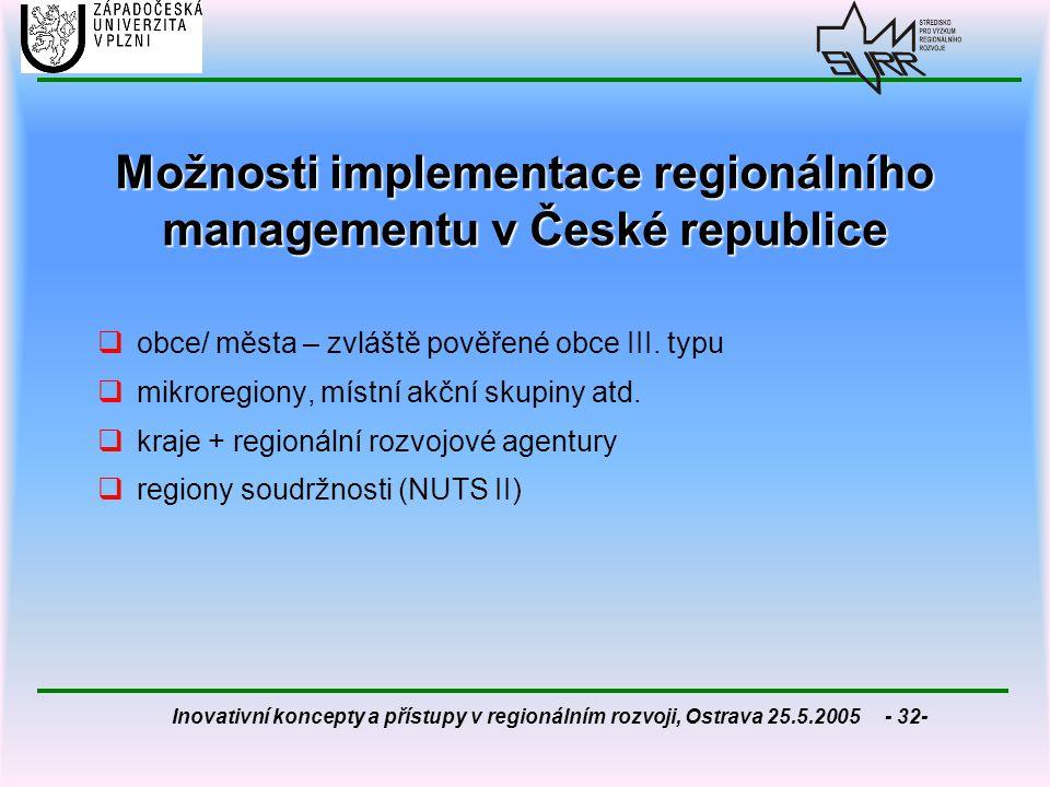 Možnosti implementace regionálního managementu v České republice