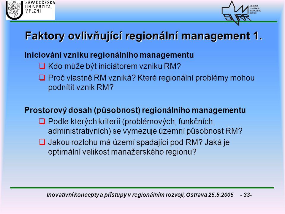 Faktory ovlivňující regionální management 1.