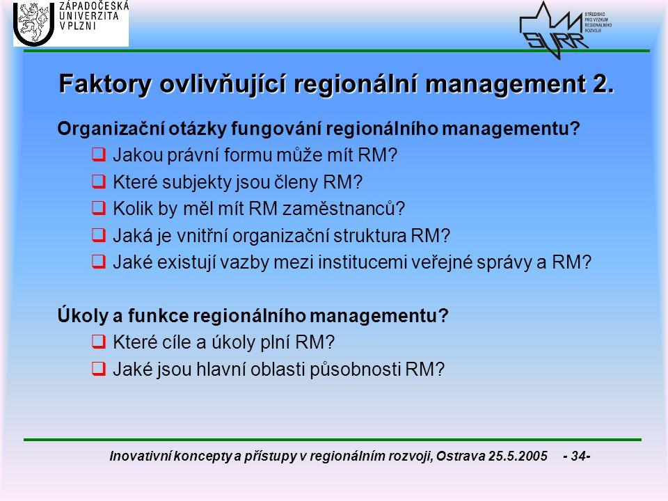 Faktory ovlivňující regionální management 2.